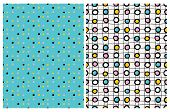 Cute Colorful Dotted Seamles Vector Patterns. Pink,yellow And Black Dots On A Blue Background. Black poster