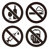No Alcohol Sign, No Smoking Sign, No Alcohol Sign And No Beer Sign. Prohibited Signs Isolated On Whi poster