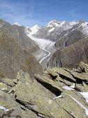 Fiescher Glacier In Valais Switzerland
