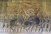 stock photo of mahabharata  - Mahabharata on the wall of Angkor wat Cambodia - JPG