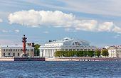 Russia. Petersburg. An arrow of Vasilevsky island and Rostral columns.