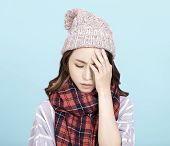 Sick Young Woman With Headache  Illness, Sick, poster