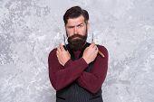 Facial Hair Care. Hiring Barber. Barber Equipment. Barber Salon. Man Bearded Hipster With Long Beard poster