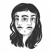 Double Face Girl Sketch Engraving Vector Illustration. T-shirt Apparel Print Design. Scratch Board S poster