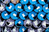 Old Chemical Barrels. Blue And Purple Oil Drum. Steel Oil Tank. Toxic Waste Warehouse. Hazard Chemic poster