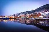 Bergen, Norway - December 27, 2014: Famous Bryggen street with wooden colored houses in Bergen at Ch poster