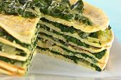 Crepes Layered with Chard (Mangold)
