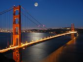Golden Gate Bridge With Moon