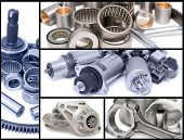 pic of piston-rod  - many different auto car spare parts a collage - JPG
