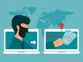 Hacker In Mask Steal Money Online By Malware. Hacker With Laptop Stealing Money Vector Illustration. poster