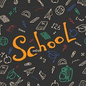 Seamless Pattern On A School Theme. Vector Illustration Background On A School Theme.  Set Textbook, poster