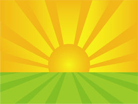 picture of sun rays  - Illustration of a landscape at sunrise with sun rays - JPG