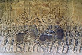 stock photo of mahabharata  - Mahabharata on the wall of Angkor wat Cambodia - JPG