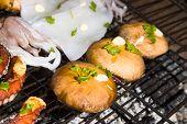 Mushrooms And Sea Food On Barbecue, Greece.