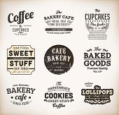 Set of retro bakery labels, ribbons and cards for vintage design
