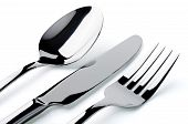 Cutlery Closeup Isolated Over White