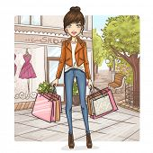 Fashion girl at shopping
