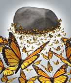 pic of monarch  - Group strength and the power of working together as a business concept with a team of monarch butterflies forming a solid organised partnership to overcome the challenge of lifting a heavy rock boulder up in the air - JPG
