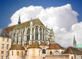 Chartres Cathedral At The Background Is Overcast. France