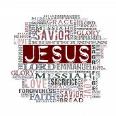 image of jesus  - Different Religious Words isolated on white background - JPG