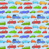 Cartoon cute cars seamless background on blue, vector
