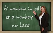 Teacher Showing A Monkey In Silk Is A Monkey No Less On Blackboard