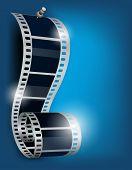 Rollo de película sobre fondo azul