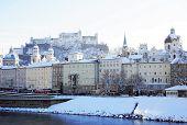SALZBURG, AUSTRIA - DECEMBER 2012: Snowy Salzburg circa December 2012 in Salzburg, Austria
