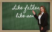 Leraar tonen net als vader als zoon op Blackboard