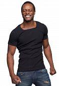 African American Man Smiling With Eyes Shut