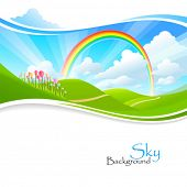 Rainbow , Green Hills and Blue Sky