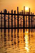 Sunset At The U Bein Bridge, Myanmar