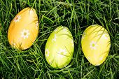 Three easter eggs nestled in the grass overhead shot