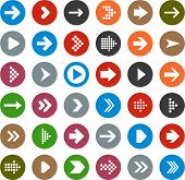 stock photo of arrowhead  - Vector illustration of plain round arrow icons - JPG