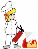 Woman Chef Putting Out Fire.
