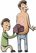 stock photo of scabs  - A cartoon man peels a huge scab off of another man - JPG