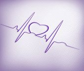 Purple ECG line with heart graphic on purple gird background