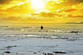 Man Fishing Among The Waves