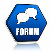 Forum With Speech Bubbles Sign In Blue Hexagon Button