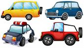 Illustration of the different kinds and colors of cars on a white background