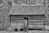 Black and White of One Room Log Cabin