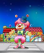 Illustration of a clown crossing the pedestrian lane