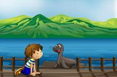 Illustration of a boy and a sea lion