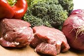 image of red meat  - filet mignon steak meat raw with vegetables - JPG