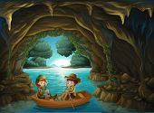 stock photo of cave woman  - Illustration of a cave with two kids riding in a wooden boat - JPG