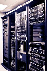 image of supercomputer  - Four Racks Network servers in a data center - JPG