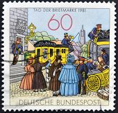 GERMANY - CIRCA 1981: stamp printed in Germany shows People by Mailcoach lithograph circa 1981.