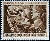 GERMAN REICH - CIRCA 1944: A stamp printed in Germany shows image of Adolf Hitler circa 1944