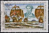 BRAZIL- CIRCA 1968: A stamp printed in Brazil dedicated to birth anniversary of Pedro Alvares Cabral