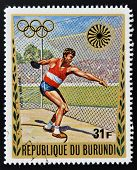 A stamp printed in Burundi dedicated to the Munich Olympics shows discus throw